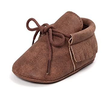 Amazon.com : Itaar Baby Moccasins PU Leather Crib Shoes Lace Up Soft Sole Tassel Design for Infant Toddler Boys and Girls : Baby