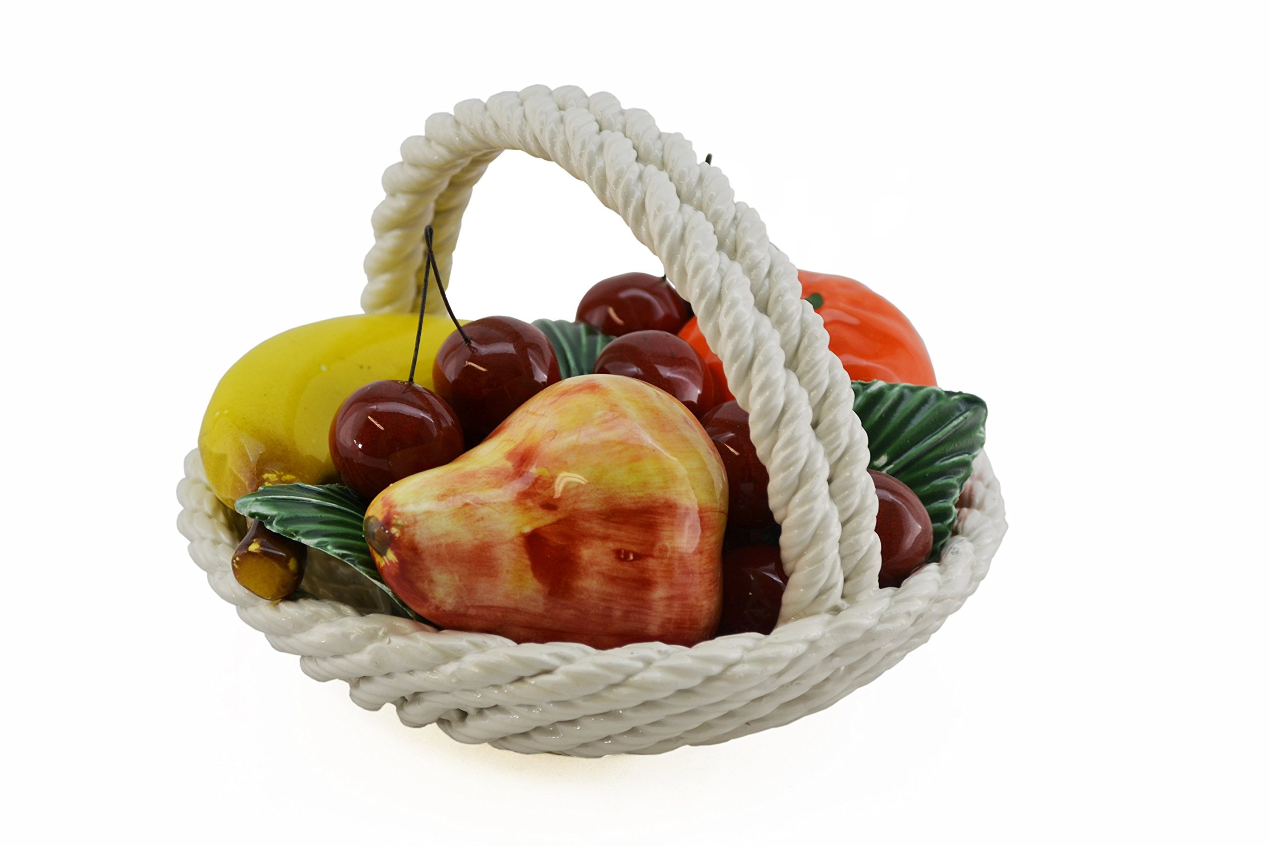 CAPODIMONTE X109 Authentic Italian Round Mini-Mix Fruit Display Basket, Multicolor