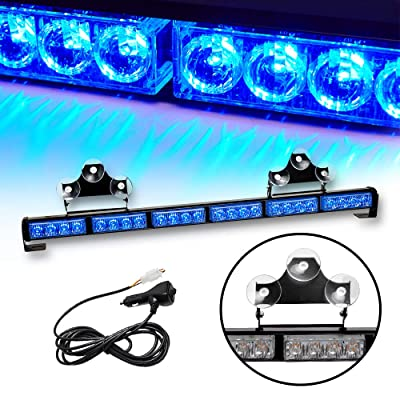 TeddyTT Emergency Strobe Lights Directional Warning Lights Bar Flash Traffic Advisor Led Safety for Rear Window Wiring Kit With Cigar Lighter Interior Installing for Truck Car 27Inch 6 Block Blue: Automotive