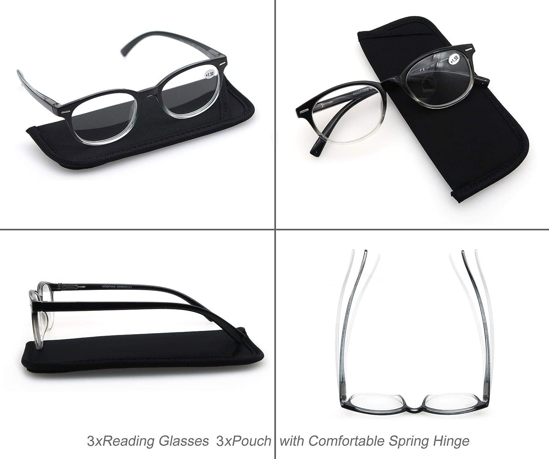 MODFANS Confezione da 3 occhiali da lettura 1.0 per donna Montatura Leggera Moda Comodo Inclusa Tasca per Gli Occhiali Lente Trasparente Visione Chiara