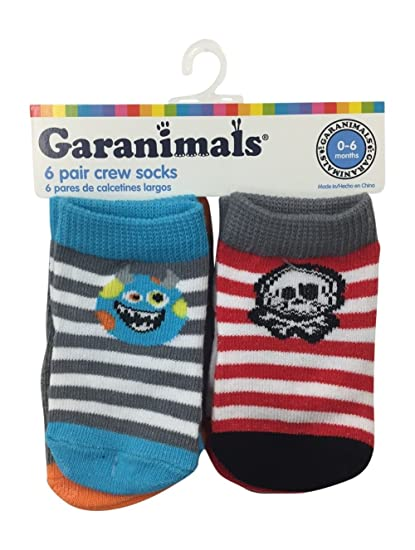 Garanimals Boys Stripe 6 Pack Crew Socks 0-6 Months