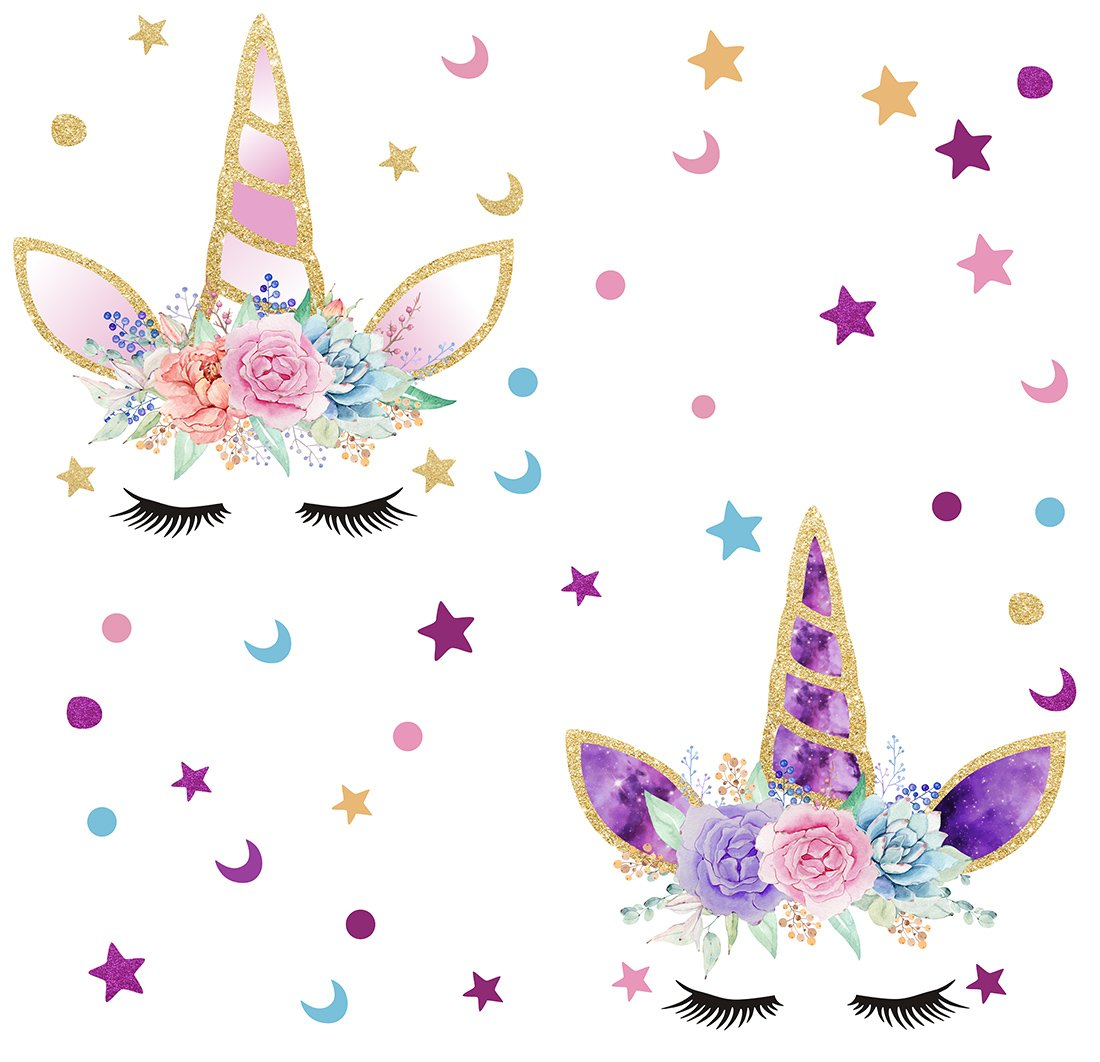 Happy Unicorn Decal Unicorn Wall Decals Fairytale Wall Decal Girls Bedroom Home Decor 2pcs and Stars