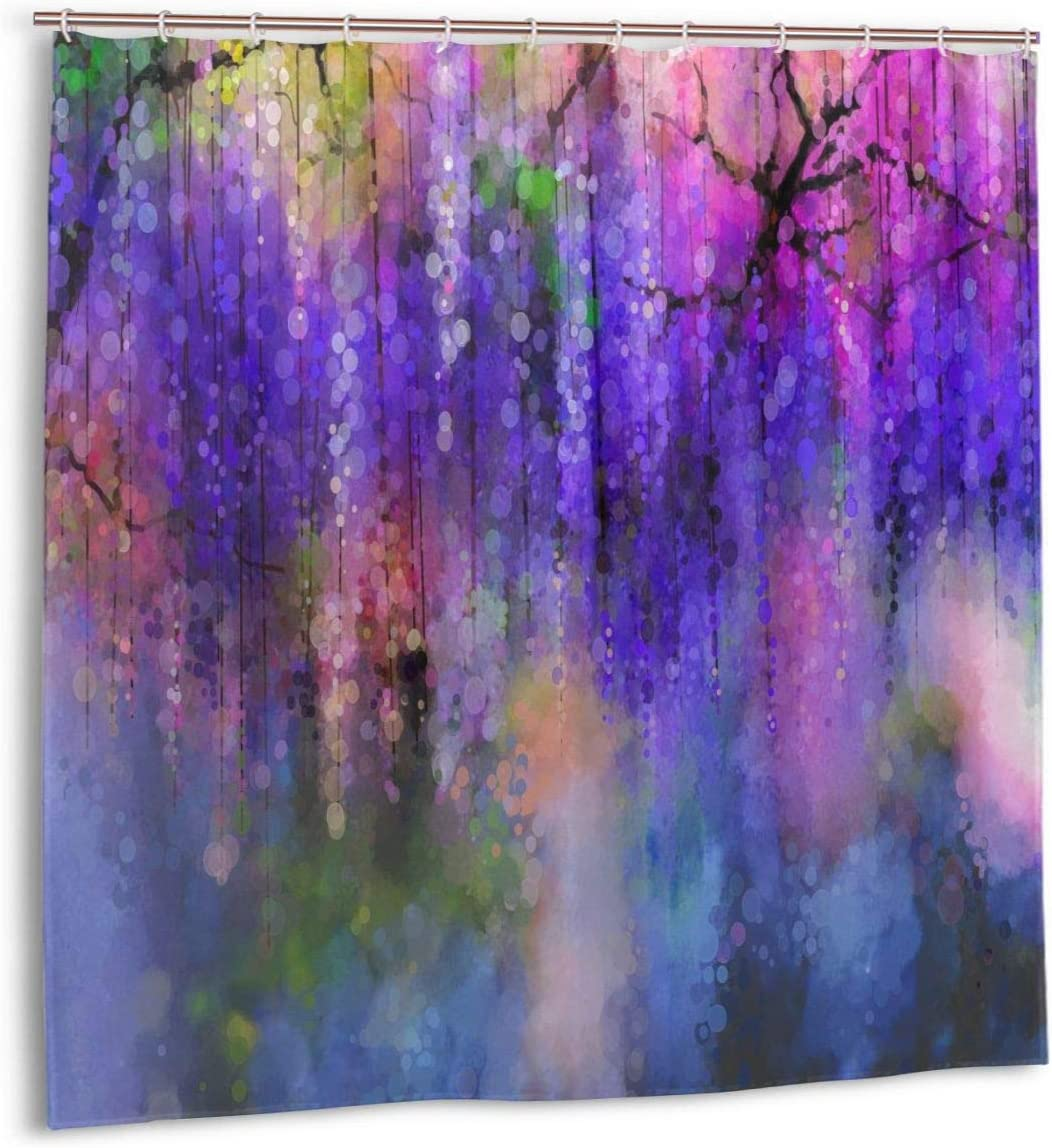 Lianmei Curtain Abstract Violet Color Flowers Bathroom Curtain Waterproof Washable Large Window Bathroom Tub Curtains Sets Fabric Home Decor with 12 Hooks 72 x 72 inches