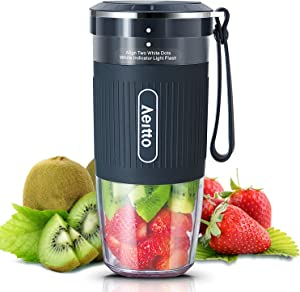 Aeitto Portable Blender, Cordless Personal Blender Juicer Cup, Mini Mixer, Smoothies Maker Blender with USB Rechargeable, BPA Free, 10oz, for Home, Office, Sports, Travel, OutdooS