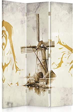 Feeby Frames Biombo Impreso Sobre Lona, tabique Decorativo para Habitaciones, a Doble Cara, de 3 Piezas, 360° (110x150 cm), Molinos, Sepia, ABSTRACCIÓN, Dibujo: Amazon.es: Hogar