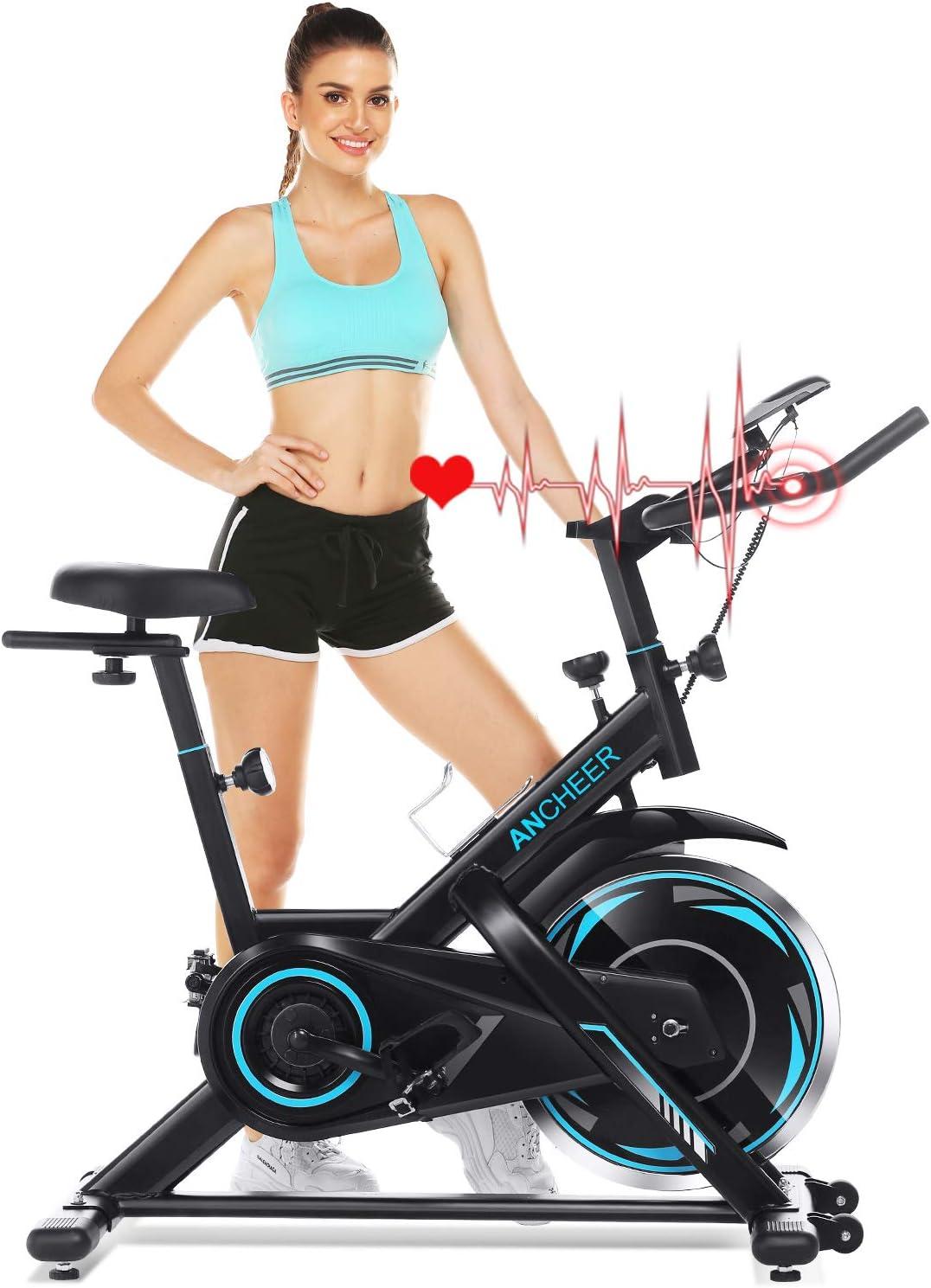 Ancheer Bicicleta de Spinning Bicicleta de Fitness de Volante de Inercia de 18kg Bicicletas de Ciclo Indoor App Conectable Resistencia Ajustable y Monitor LCD para Ejercicio en el Hogar