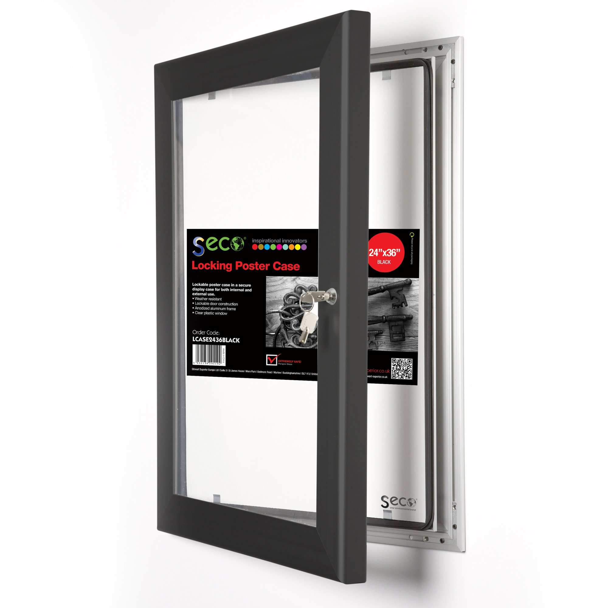 SECO Locking Indoor/Outdoor Poster Case, Shatterproof, Rustproof, 24'' x 36'', Black (LOCKINGCASE2436BL) by Unknown (Image #1)