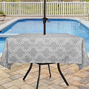 Eforcurtain Square 60 Inch Outdoor Umbrella Tablecloth with Zipper Durable Water Resistant Fabric Table Cover Grey and White Floral Printed Table Cloth Machine Washable