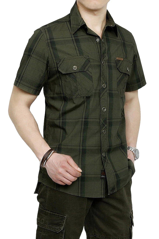 Mens Short Sleeve Plaid Shirt Plus Size Tops Loose