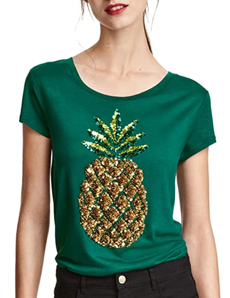 979038c94c0 Haoduoyi Womens Sequin Embroidery Pineapple Print Short Sleeve Slim T-shirt  Tops(S
