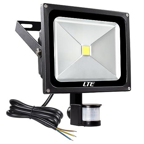 LTE 50W Foco con Sensor Movimiento Proyector LED Exterior Iluminación de Exterior Segura,Foco led