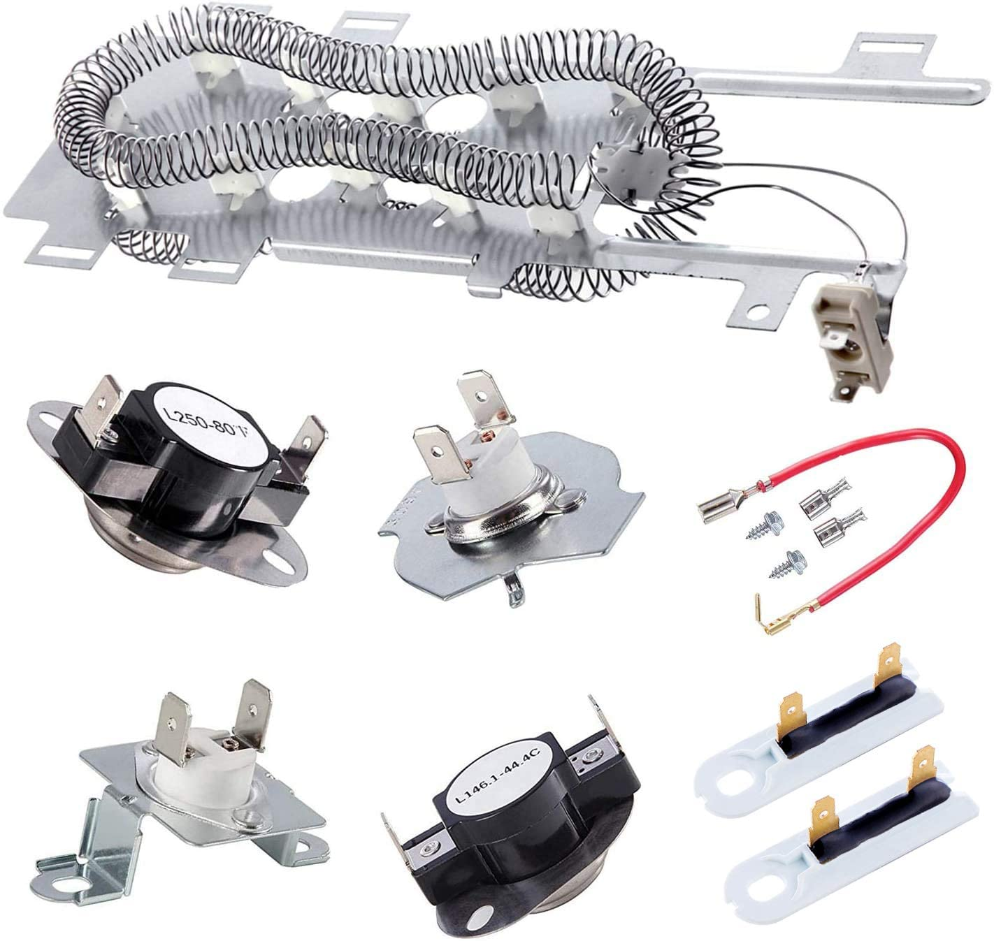 8544771 Dryer Heating Element, 279973 3392519 Thermal Fuse and 279816 Thermostat Cut Off Dryer Compatible with maytag, kenmore and More