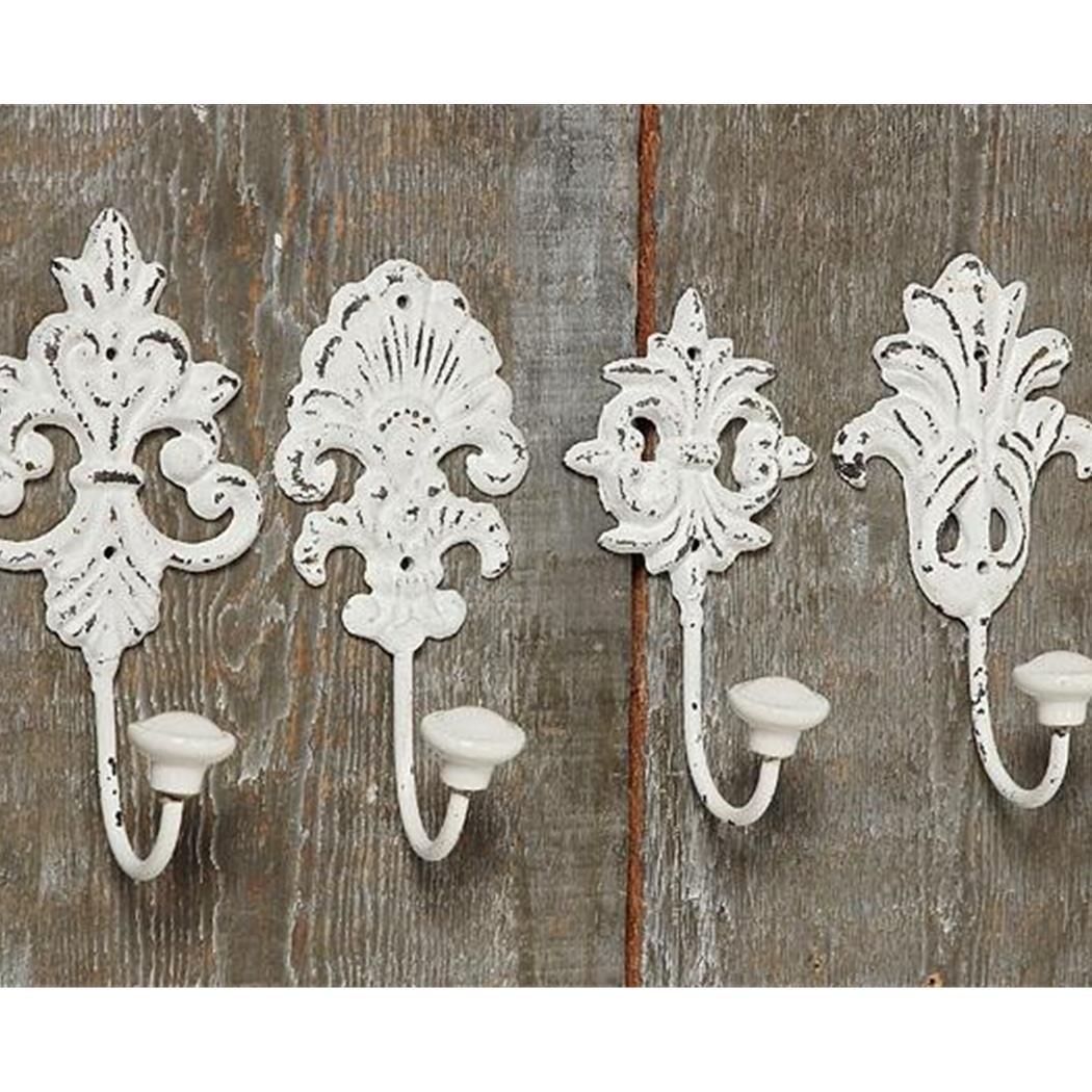 Pack of 4 White Hooks Shabby Chic / Vintage Ornament / Baroque Style ...