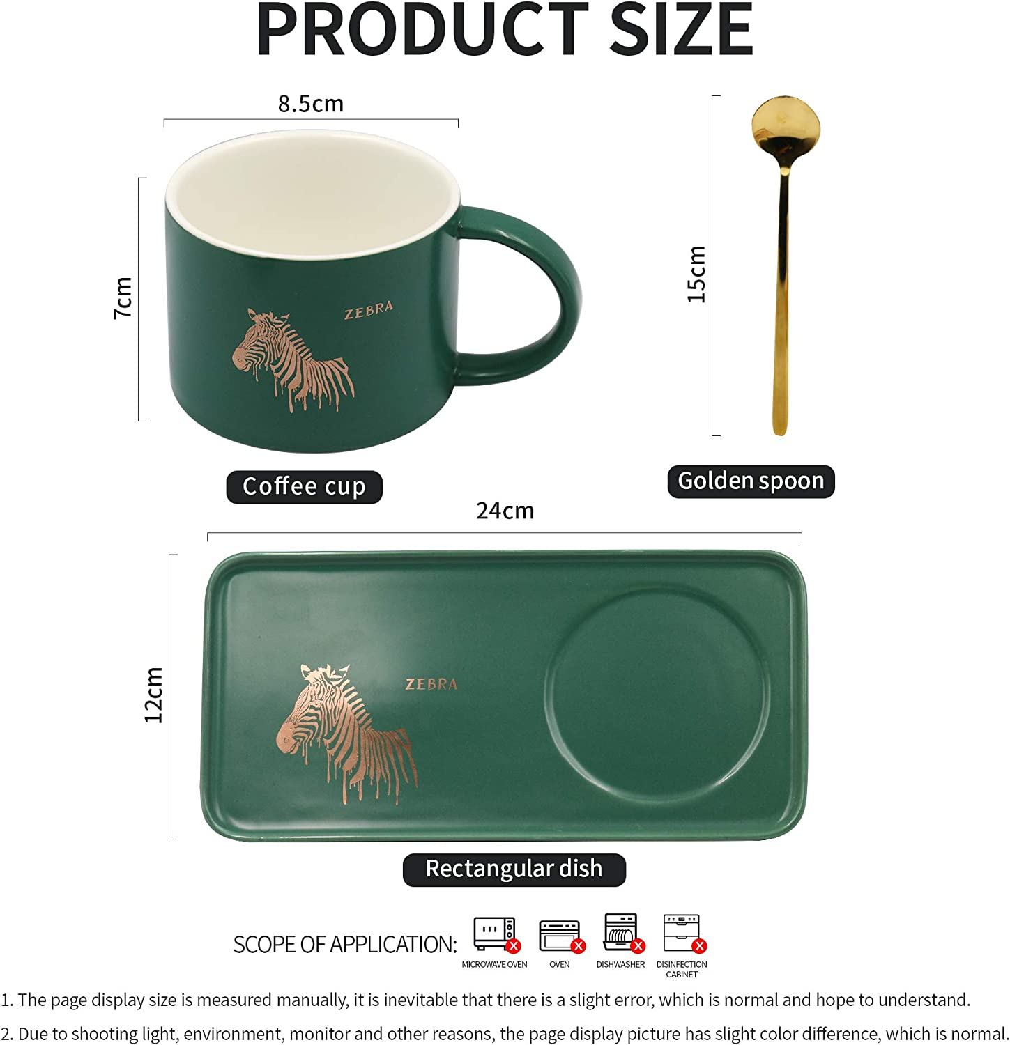 and Cold Drinks Green Cappuccino Tea Cup with Tray and Golden Spoon,Perfect for Espresso Porcelain Coffee Mug Set Hot Chocolate 8 Oz,Gift Box Wrapping