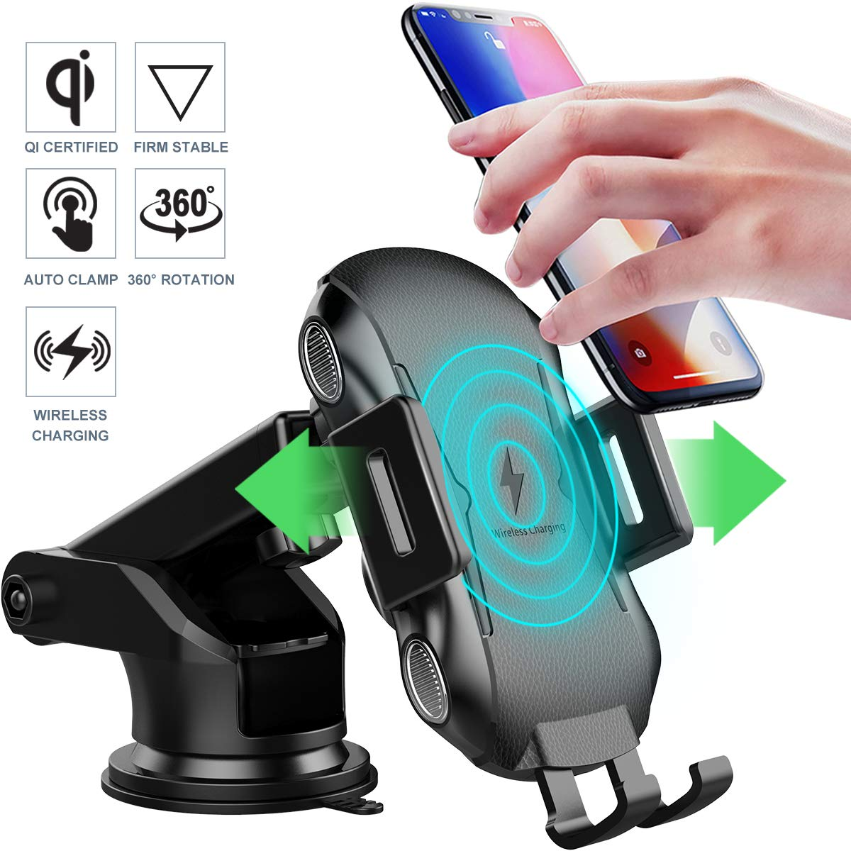 Universal Wireless Automatic Sensor Car Phone Holder and Charger, 10W QI Fast Charging, Auto Clamping Car Phone Mount for Dashboard / Windshield, Compatible for iPhone X/8/7/6S, Samsung S10/S9/S8 More