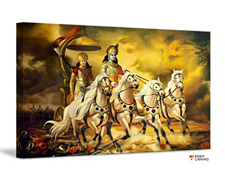 Amazon.com: FoxyCanvas Lord Krishna and Arjuna Mahabharata Lord ...