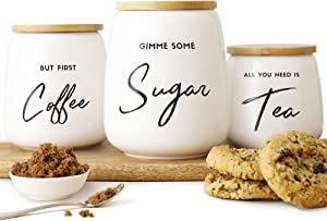 Airtight Kitchen Canister Set of 3 for the Kitchen Counter & Coffee Bar | Coffee Tea Sugar Ceramic Canister Set with Airtight Bamboo Lids | Fun Canister Sets for the Kitchen