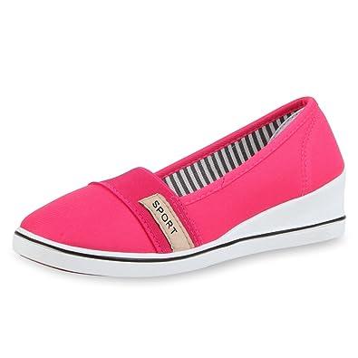 841b8f604416c1 SCARPE VITA Damen Keilpumps Wedges Canvas Schuhe Pumps Keilabsatz 164085  Pink 36