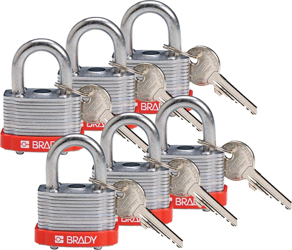 Brady 118935 Red, Key Retaining Steel PadLock - 3/4'' Shackle - Keyed Different (6 Locks)
