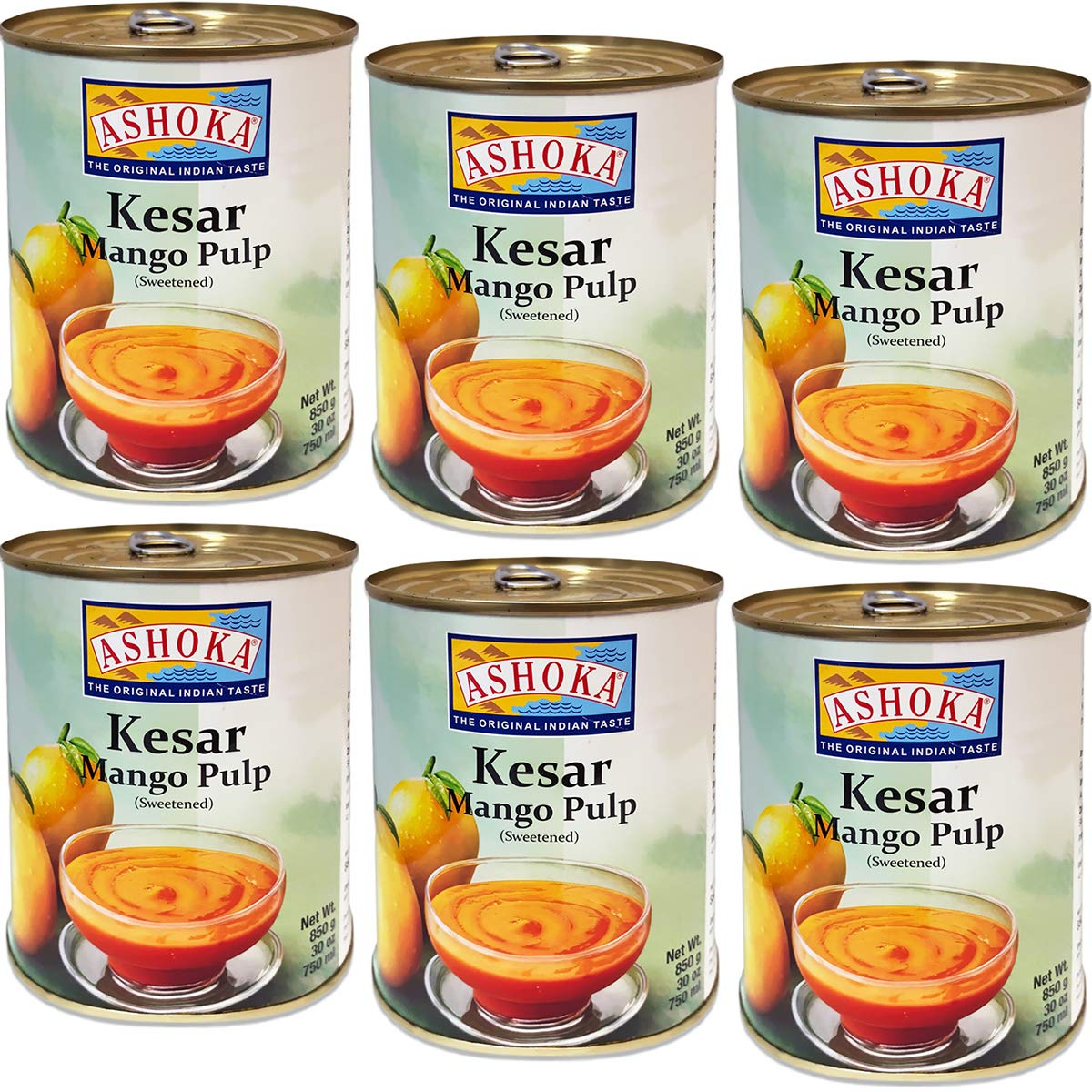 Ashoka - Kesar Mango Pulp (Pack of 6), 30oz x 6