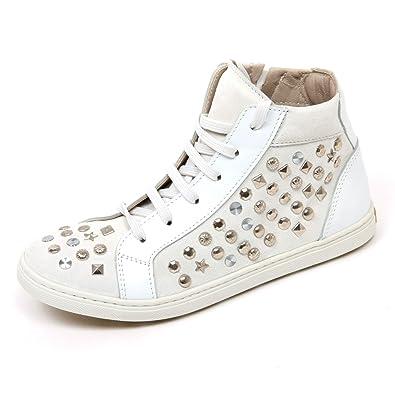 timeless design cb9c7 9f231 Simonetta C9734 Sneaker Alta Bimba Scarpa Bianco Borchie ...