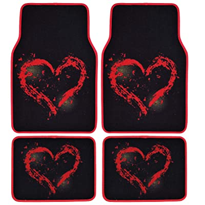 BDK Love Heart Design Carpet Car Floor Mats for Auto Van Truck SUV-4 Pieces Front & Rear Full Set with Rubber Backing-Universal Fit: Home & Kitchen