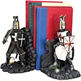 """Ebros Black and White Medieval Crusader Knight Bookends Statue 7.5"""" Tall Set Suit of Armor Swordsman Knights of The…"""