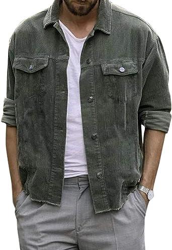 Flygo - Camisa de Pana para Hombre, Manga Larga, Estilo Vintage - Verde - Medium: Amazon.es: Ropa y accesorios