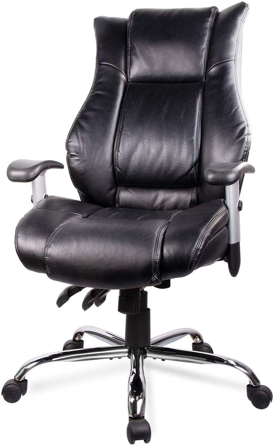 Smugdesk High Back Bonded Leather Executive Office Chair with Adjustable Backrest and Armrest, Black