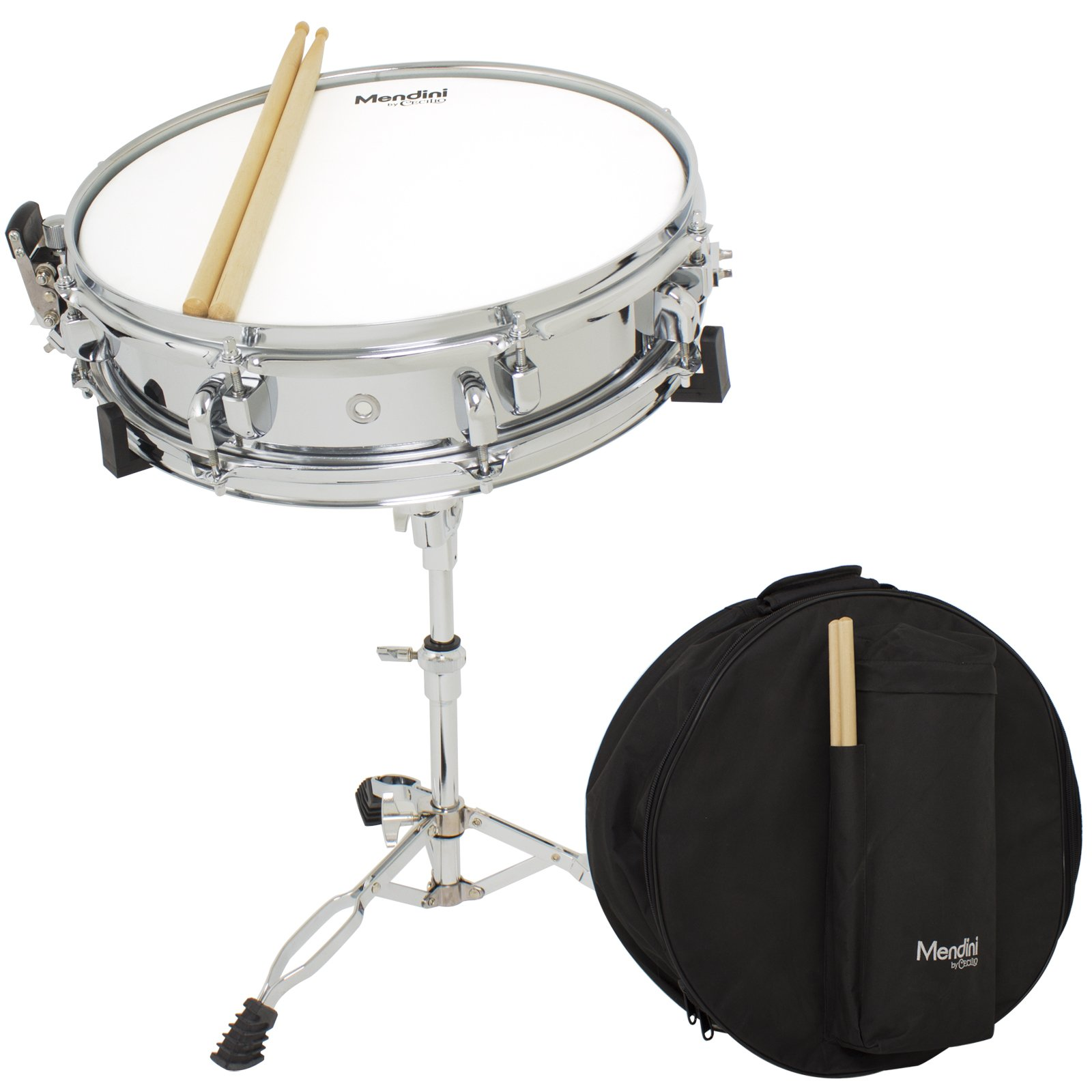Mendini by Cecilio Student 14-inch Snare Drum Set with Soft Case, Drum Sticks, and Stand
