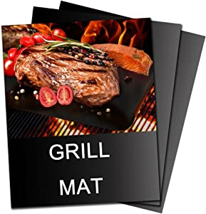 Professional Grill Mat-Reusable and Heat Resistant BBQ Grill Mat,16 x 13 Inch Barbecue Grill Mats Set of 3 Heavy Duty Non-stick for Ribs Shrimps Steaks Burgers Vegetables (BLACK)