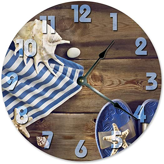 Sugar Vine Art Umbrella and Sandals Beach Clock Large 10.5 Wall Clock Decorative Round Ocean Clock Home Decor Novelty Clock Beachy Ocean Clock