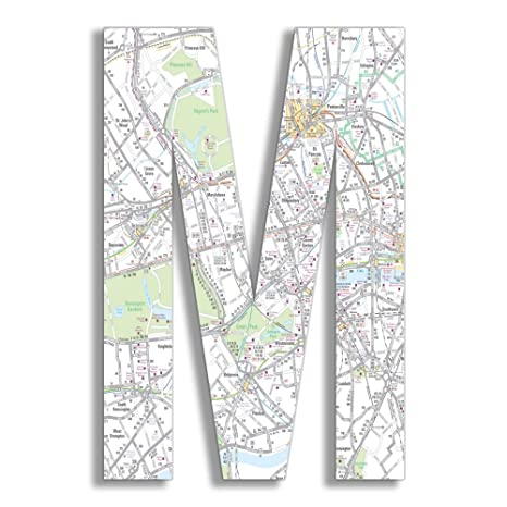 Proudly Made in USA 12 x 0.5 x 18 Stupell Home D/écor London Map 18 Inch Hanging Wooden Initial