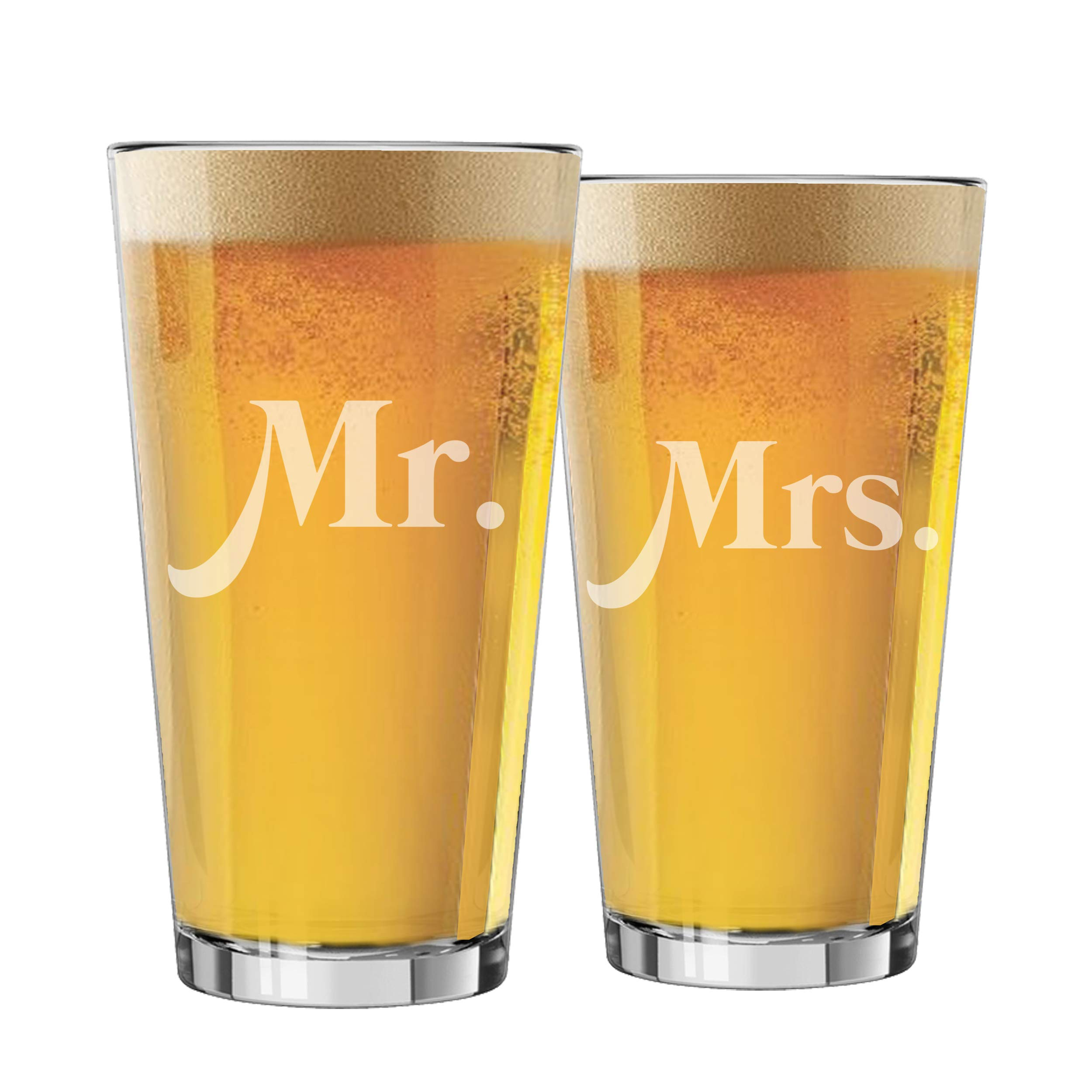 My Personal Memories Mr, Mrs, His, and Hers Beer Pint Glasses Gift Set of 2 for Engagement, Wedding, Anniversary, and Couples (Mr. and Mrs. Block - 16oz)