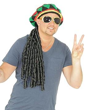 foxxeo 35121 | Negra Rasta peluca con Bunter ganchillo gorro Reggae