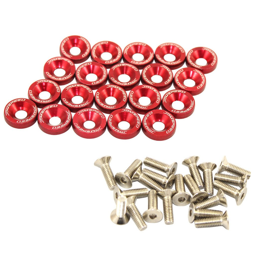 JDMSPEED 20 Pcs Gold CNC Billet Aluminum Fender Washer Engine Bay Dress Up Kit