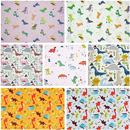 Amazon Com 7pcs Cartoon Prined 18 X 22 Fat Quarters Fabric Bundles For Patchwork Quilting Pre Cut Quilt Squares For Diy Sewing Patterns Crafts