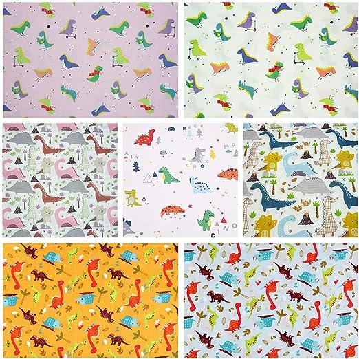 7 paquetes de tela para acolchar con diseño de dinosaurio, 46 x 56 ...