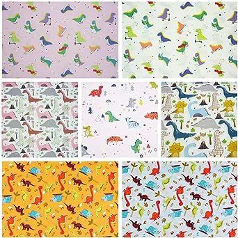 7 paquetes de tela de acolchado de cuadros gruesos, 46 x 56 cm, tela de algodón con estampado de dinosaurio para colchas, costura, patchwork, 18 x 22 pulgadas: Amazon.es: Amazon.es
