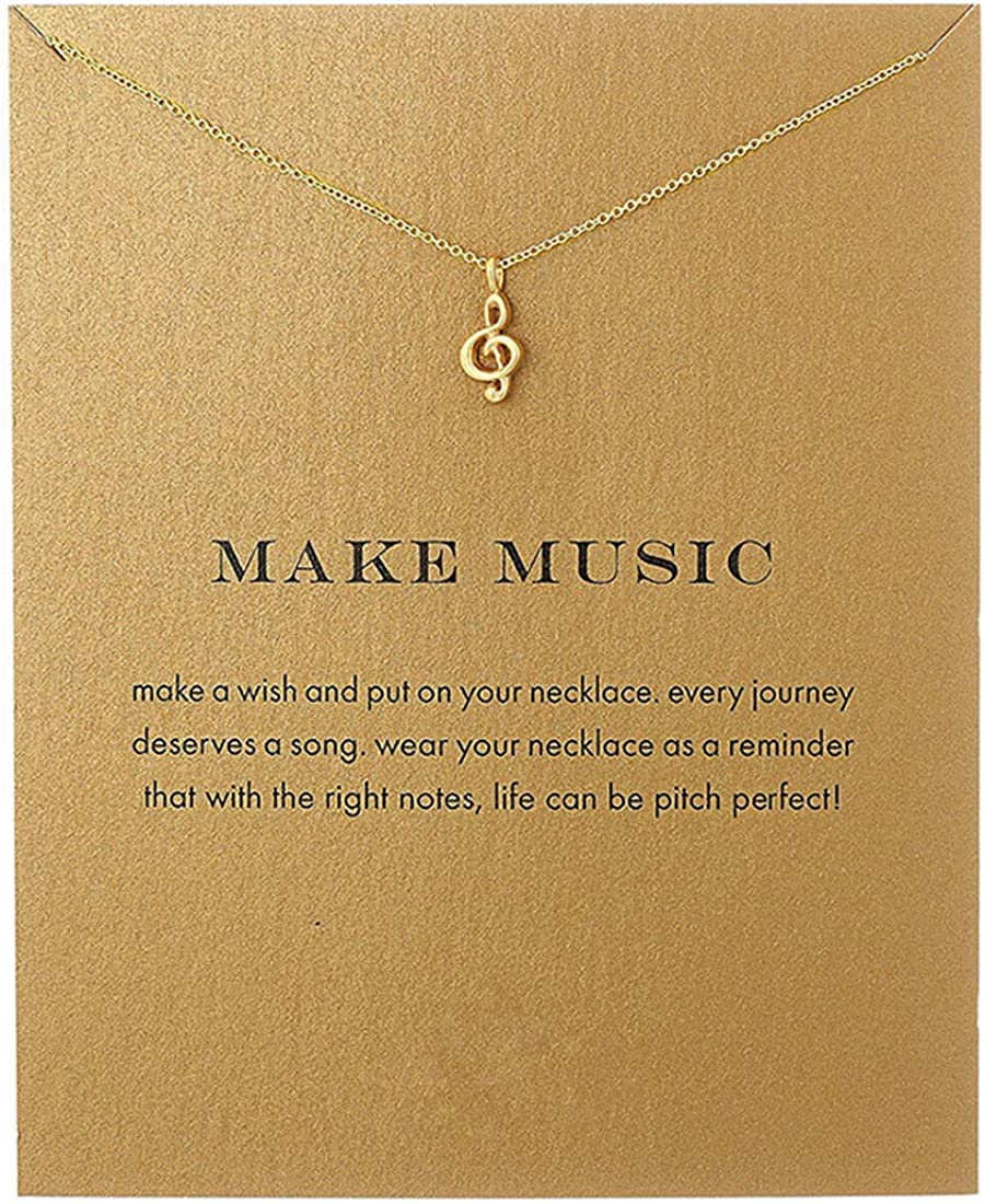Friendship Heart Shaped Lotus Flower Necklace Bowknot Compass Music Note Good Luck Pendant Message Card Friend Gifts BFF Jewelry-Music