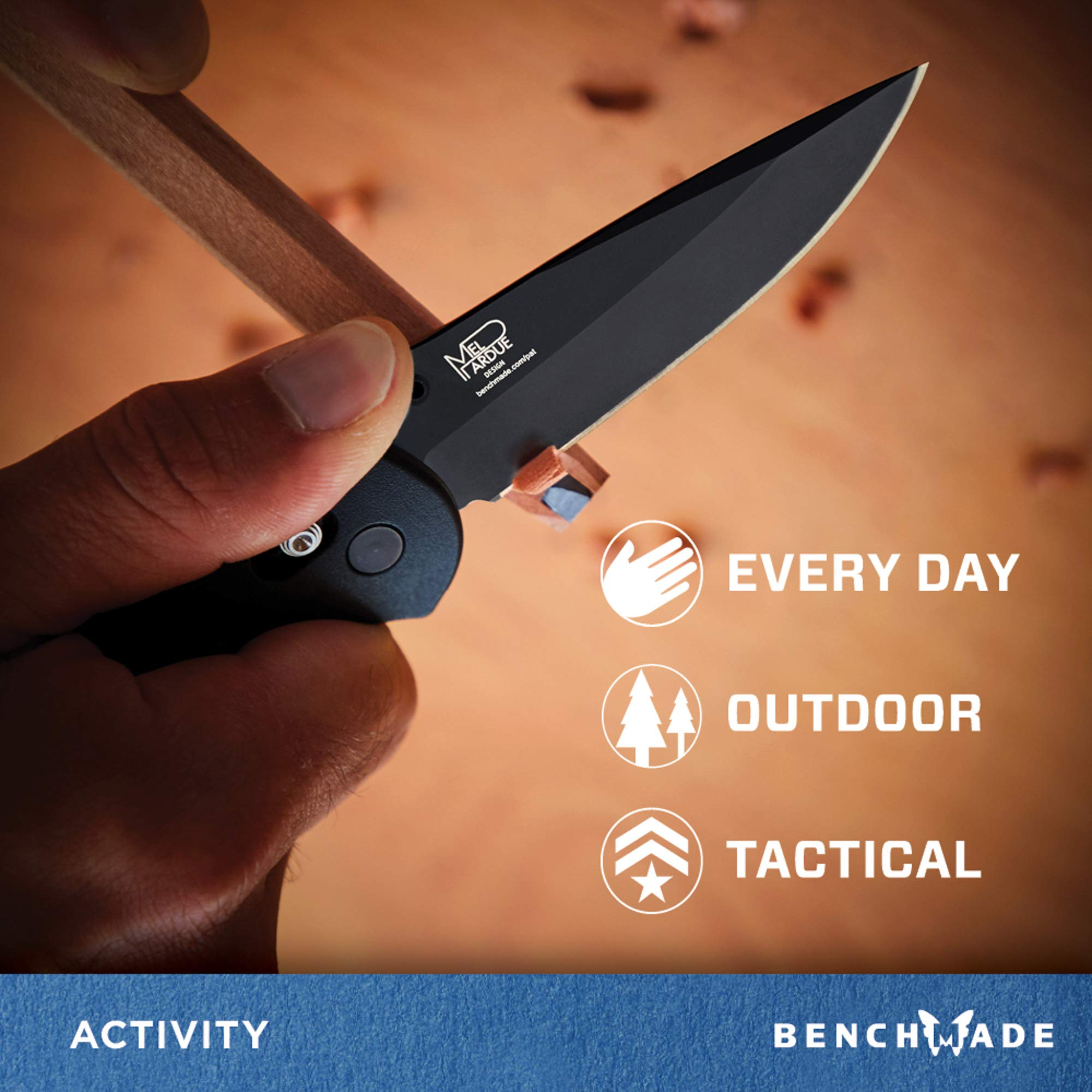 Benchmade - Griptilian 551 Knife with CPM-S30V Steel, Drop-Point Blade, Plain Edge, Coated Finish, Black Handle by Benchmade (Image #4)