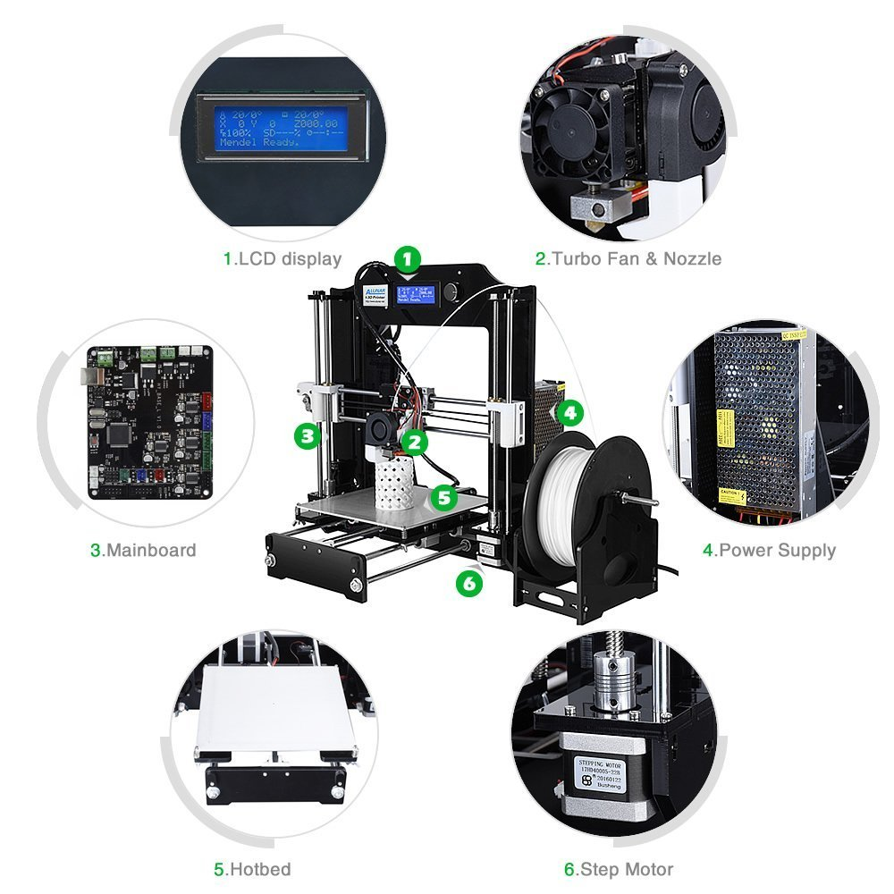 Alunar 3d Printer Diy Prusa I3 Kit Self Assembly Desktop Fdm 175mm Stick Well The Plexiglass Here It Is Ready Power Supply Circuit Pla Pen Filament Heated Bed Industrial Scientific