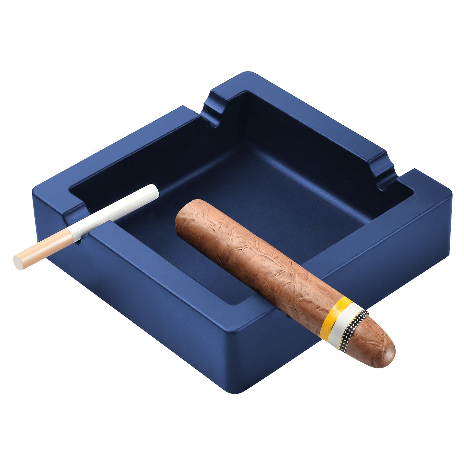 OILP Large Cigar Ashtrays for Men,Big Ashtrays for Cigarettes,4 Dual-use Rest Unbreakable Silicone Ashtrays for Outdoor Indoor Home Decor Modern Ashtray (Navy Blue)