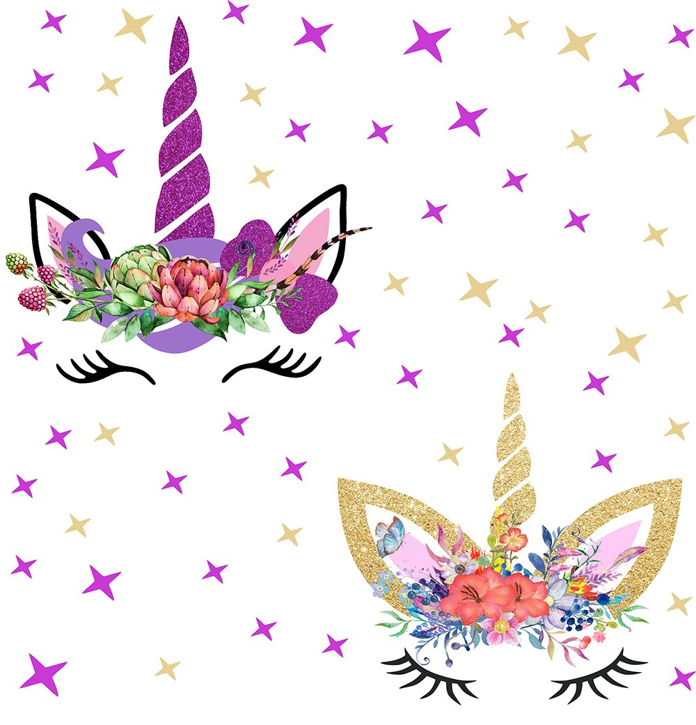Happy Unicorn Decal, Unicorn Wall Decal Fairytale Wall Decal Girls Bedroom Home Decor 2pcs With Stars