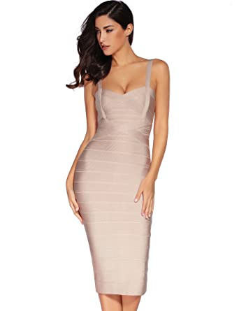 Meilun Women Celebrity Rayon Strap Fitted Bandage Bodycon Clubwear Dress  (X-Small, Beige