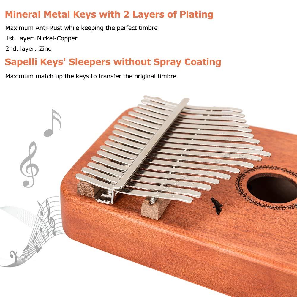Kalimba 17 Keys Thumb Piano - Handmade Solid Mahogany Mbira Likembe Sanza with Tuning Hammer & Gift Accessories for Kids Adults Beginners Musicians by LOMEVE (Image #3)