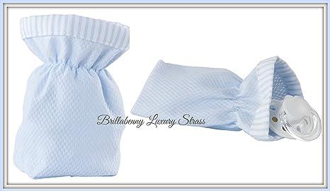 Bolsita para chupete azul de tela algodón (Protector Chupete ...