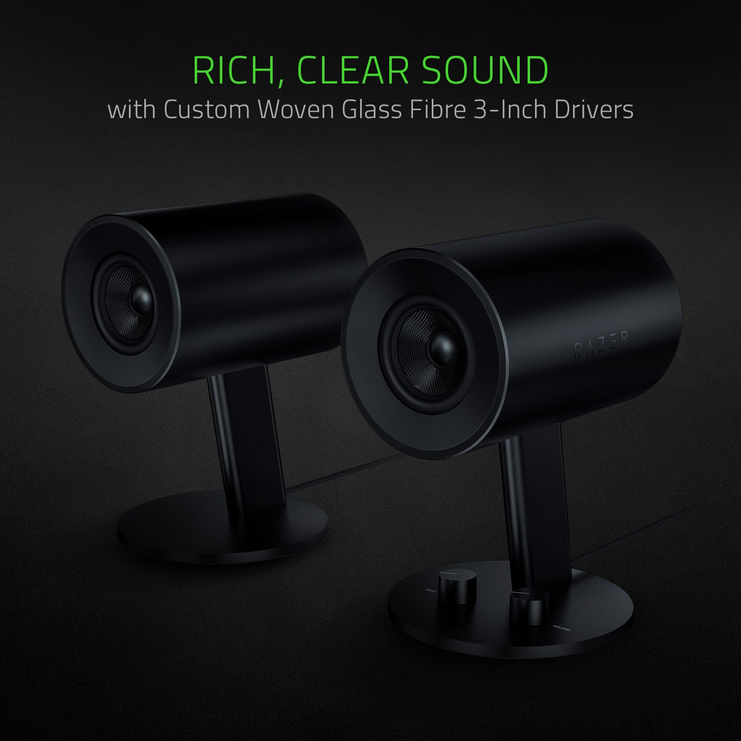 Razer Nommo - Computer Speakers, Rear Bass Ports for Full Range Gaming & Sound Immersion - Custom Woven Glass Fiber 3'' Drivers by Razer (Image #3)