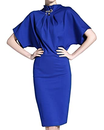 4651a557513 Burdully Women s Pencil Dress Stand Collar Batwing Sleeve High Waist Knee  Length Elegant Midi Cocktail Dresses
