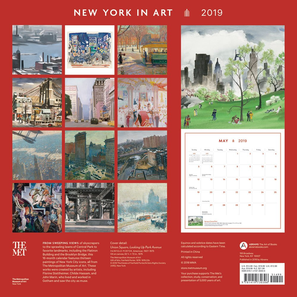 New York In Art 2019 Wall Calendar The Metropolitan Museum Of Art